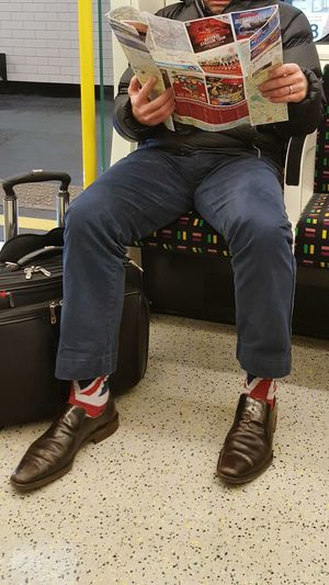 Sitting One Man Only Real People One Person Tube Train Commuter Sharp Dressed Man Socks Fancy Socks Union Jack Transportation Public Transportation London Travel Passenger Passenger Train Newspaper Luggage Underground Let's Go. Together. EyeEm LOST IN London