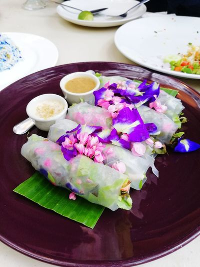 Noodle roll with flower, food and sauce White Colorful Shrimps Sauce Roll BananaLeaf Flower Noodle Thaifood Yummy Pornfood Beautiful Food Plate Close-up
