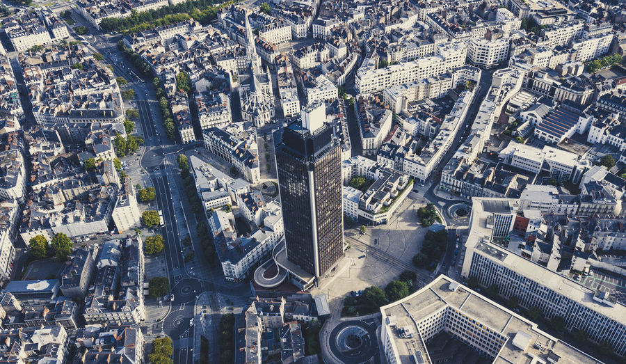 Drone  Nantes Aerial View Architecture Building Building Exterior Built Structure City Cityscape Crowd Crowded Day High Angle View Nature Office Building Exterior Outdoors Residential District Road Skyscraper Street Transportation Travel Travel Destinations