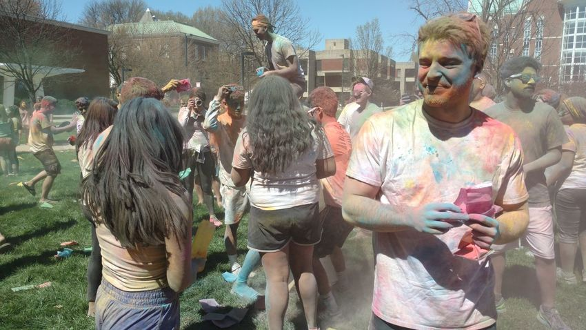 Holi - Festival of Colors! Casual Clothing City City Life Day Friendship Leisure Activity Lifestyles Mixed Age Range Outdoors