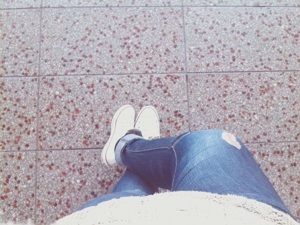 Taking Photos Hi! That's Me Followme Follow4follow Just Chillin' Whiteconverse Waiting For A Train Rippedjeans  Check This Out