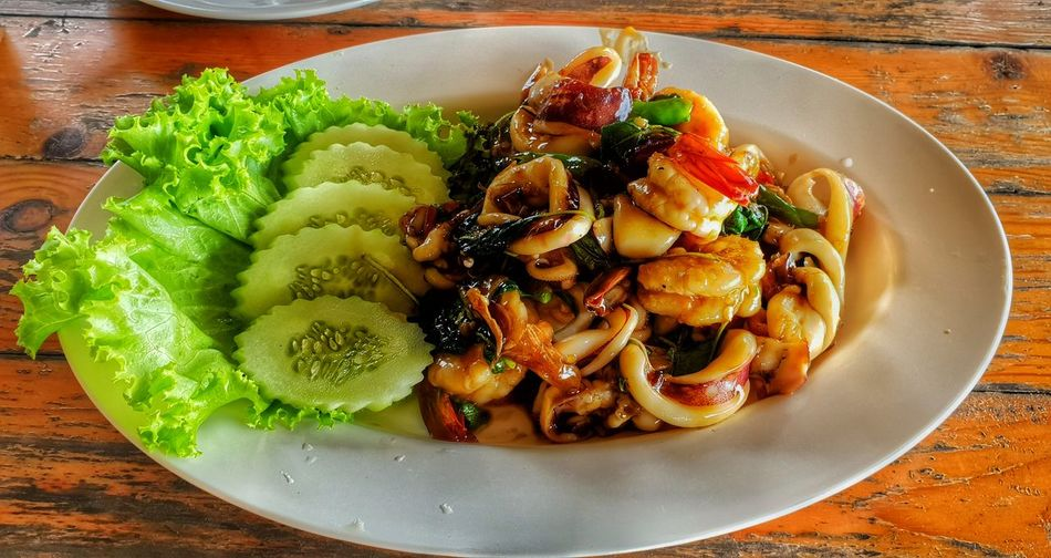 Seafoods Thai Seafood ThaiFoodGoodTaste Thai Food Thaifood Spicy Thai Good Teste Fruit Plate Table Close-up Food And Drink Thai Culture