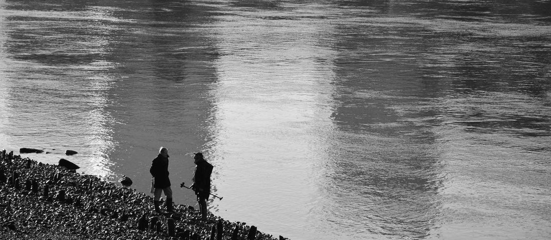 Urban Black & White Contrast Focus People Beliving Light And Shadow Water River Gold Walking Around Alone London