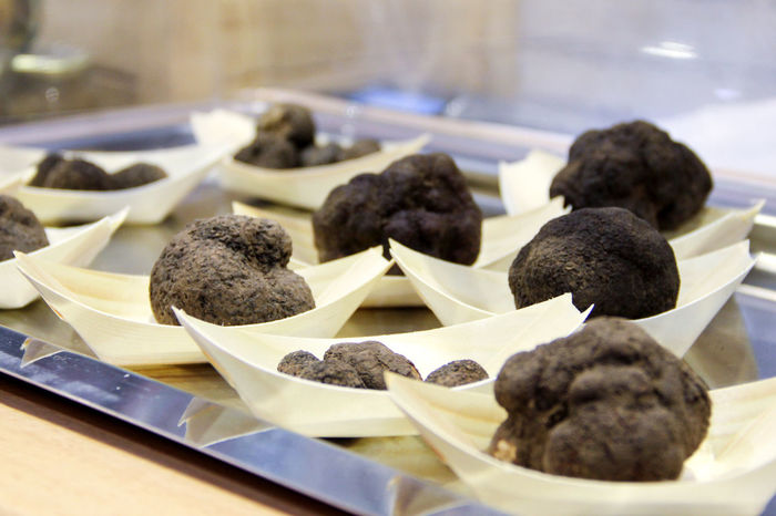 Fresh black truffles on the counter of a healthy food store Market Trufa Trüffel Close-up Dainty Day Delicacy Food Food And Drink Freshness Heathy Food Heathyfood Indoors  Market Stall No People Truffle Truffles Truffles Black