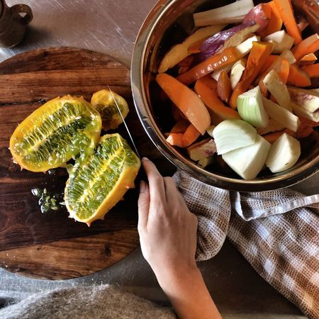 Oven Veggies Kiwano Home Cooking Vegan Food Food And Drink Healthy Eating Human Body Part Freshness One Person Wellbeing