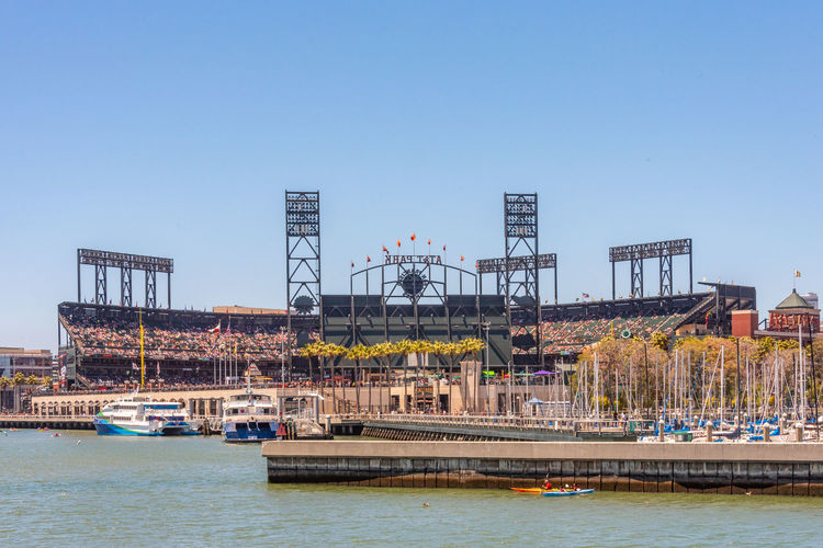 AT&T Park Water Sky Architecture Built Structure Transportation Building Exterior Nature Clear Sky River Waterfront Day Industry Machinery Nautical Vessel Copy Space City No People Outdoors Mode Of Transportation