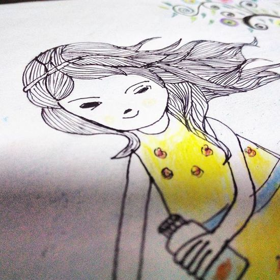 Tried a work of Vimalchandran .... Inspiration LeisureTime Curlyhair Sketchbook Cutegirl Colorpencil