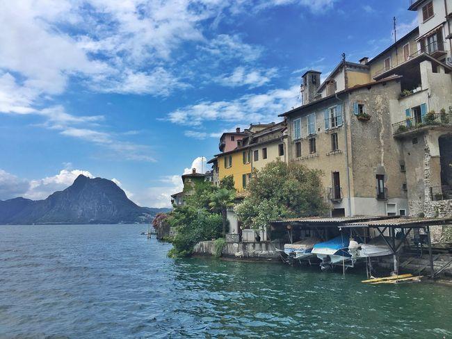 Architecture Cloud - Sky Gandria Lago Lago Di Lugano  Lake Mountain Nautical Vessel No People Oldtown Sky Suisse  Swimming Village Water Waterfront