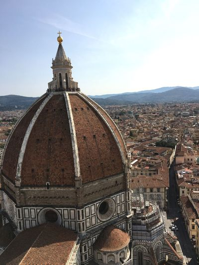 High angle view of duomo santa maria del fiore in city against sky