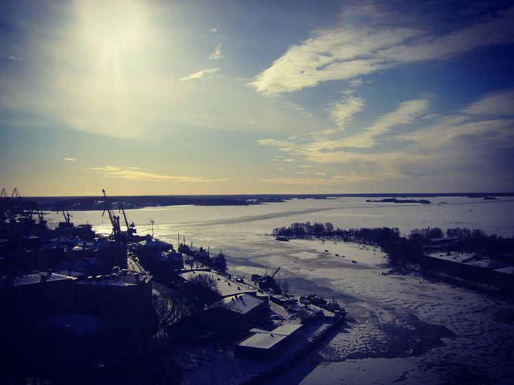 Vyborg Harbor from the castle tower Frozen Ice Harbour Vyborg Gulf Of Finland Winter Russia Water Sky Sea Cloud - Sky Horizon Over Water Nature Tranquility Sunset Beauty In Nature