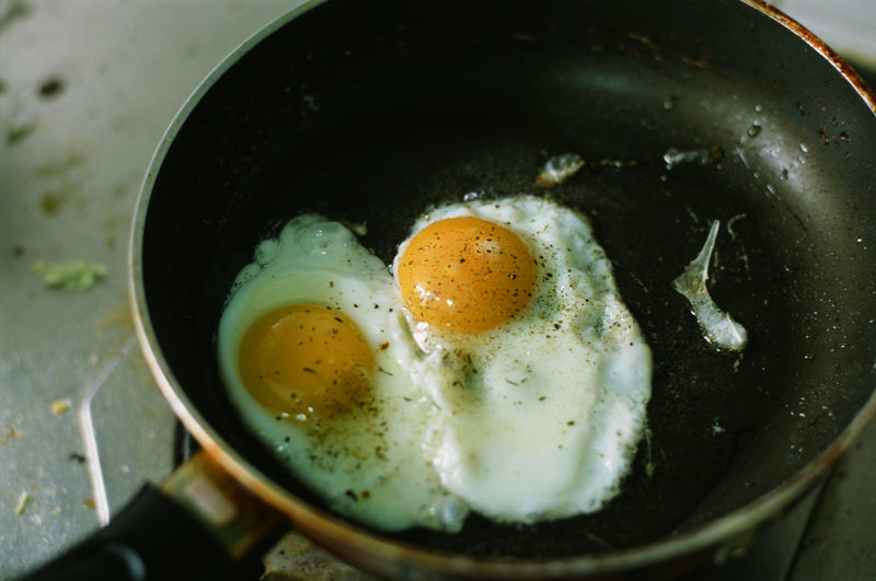 Close-up of egg in pan