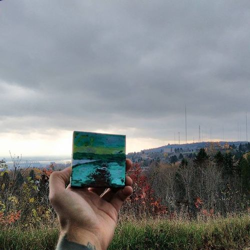 Hdrphotography of a small green Monochromatic Acrylicpainting  on Cedarwood of the TwoHarbors Skyline conjoining. Sat in the back of our Subie (Javier) while the moment struck me to paint it with Eternaltattooink I don't know if I should sell this painting. Let me know if you're interested. Travel Travellingartist GypsySoul Naturepainting Duluth TheGreatOutdoors Minnesotan SpurOfTheMoment Missions Mission