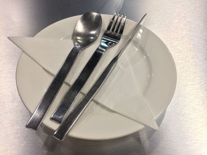 EyeEm Selects Fork Kitchen Utensil Eating Utensil Still Life Plate Table Household Equipment Indoors  Knife No People Close-up Table Knife High Angle View Food Metal Spoon Food And Drink Indulgence Directly Above