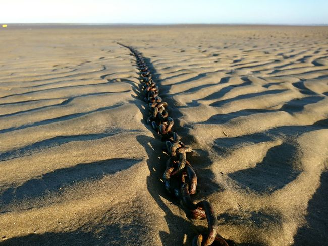 Sand Beach Outdoors Landscape Sand Dune Sky Day No People Chain Rusty Rusty Chain Wirral Leasowe
