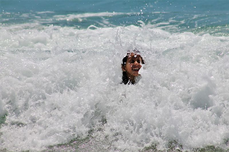 View of little girl in sea