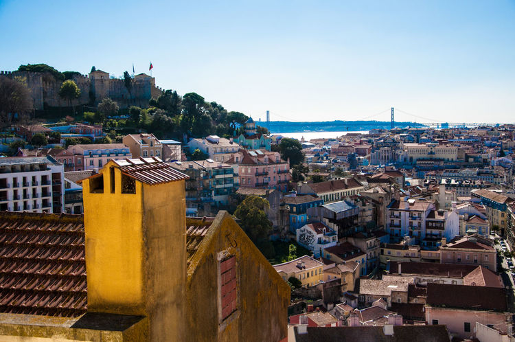 Bay Blue City Cityscape Clear Sky Copy Space High Angle View Lisbon Overview Sky Sunlight Travel Destinations View