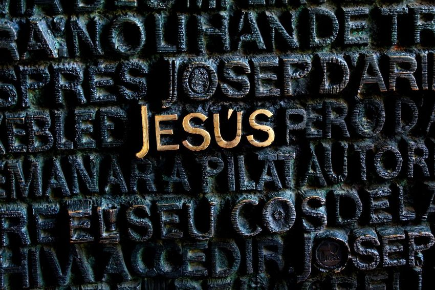 Jesus Text Western Script Communication Full Frame Backgrounds No People Alphabet