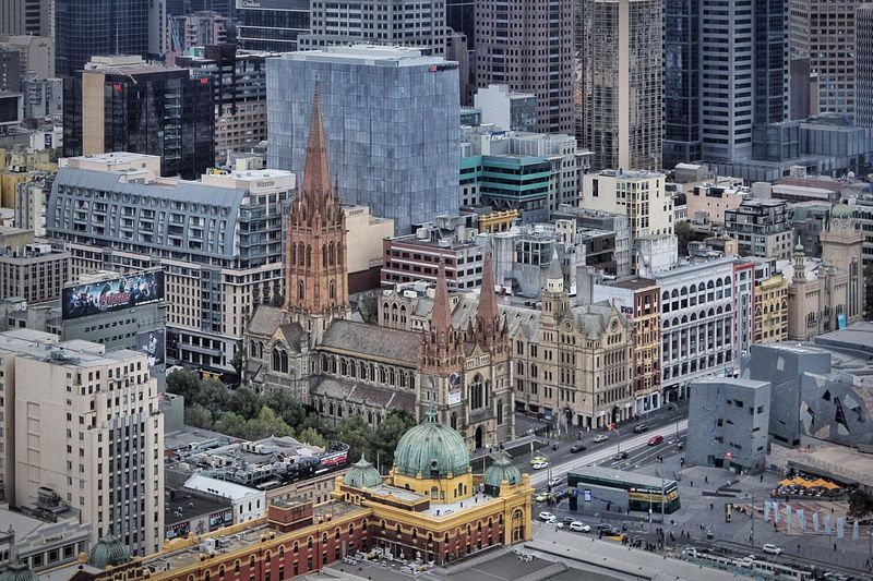 Flinders street station in modern city
