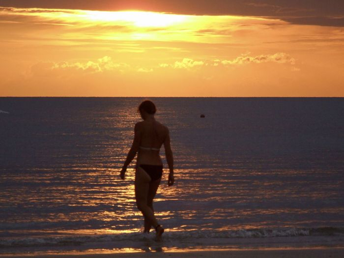 Full length of silhouette man on beach during sunset
