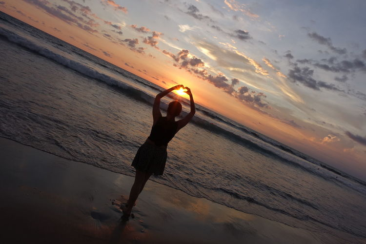Sunset Beach And Sunset Beach And Sky Silhouette Heart Shape Girl In The Beach Love Hope Bali Bali, Indonesia ASIA Serenity Welcome To Black Long Goodbye
