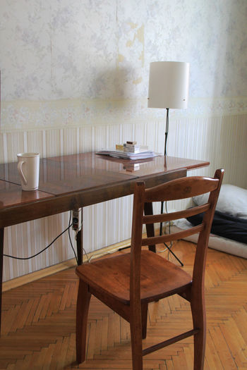 Lamp by table at home