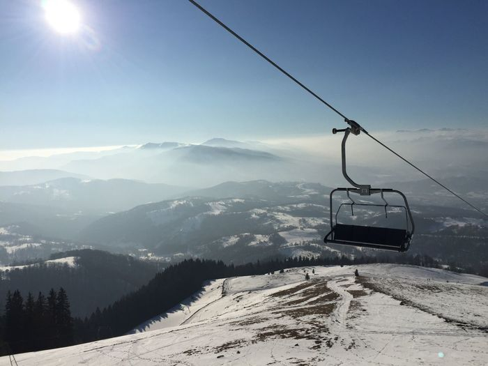 Overhead Cable Car Against Mountains During Winter