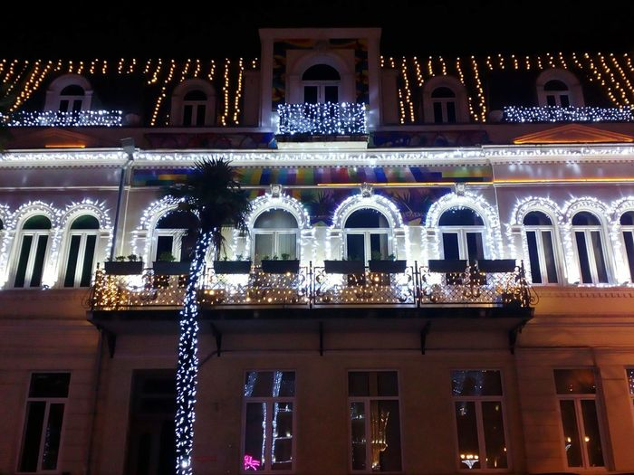 Cold Red Pink NewYear Colorful House Lights Batumi Mood Streets Architecture Vacations Built Structure Travel Destinations Night No People Outdoors Building Exterior Christmas Decoration Politics And Government