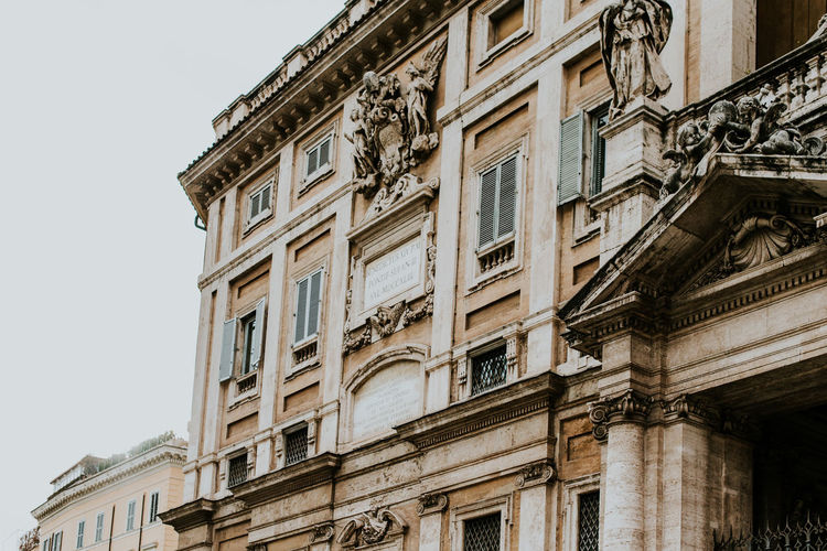 Building Exterior Architecture Built Structure Window No People Low Angle View Sky Day Building City Residential District Clear Sky Nature Balcony Outdoors History The Past Old Apartment Pattern Luxury Travel Destinations Copy Space Pastel Italy