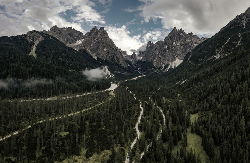 Panoramic shot of land and mountains against sky