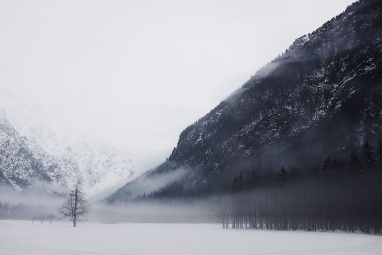 Snow Cold Temperature Winter Nature Weather Mountain Beauty In Nature Scenics Water Frozen Outdoors Sky Day Tranquility Fog Mountain Range Tranquil Scene No People Landscape Tree Logarska Dolina Slovenia