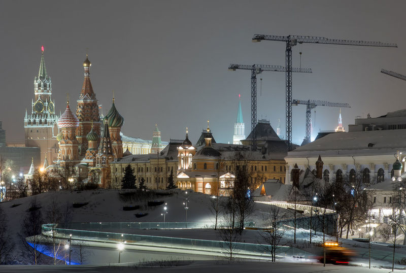 Russia, Moscow, the Kremlin, the Nikolskaya street, night, snow, Vasilevsky descent, the Kremlin's Spassky tower, St. Basil's Cathedral, Monument to Minin and Pozharsky on red square, Manezhnaya square, Ulitsa Varvarka, Zaryadye Park , winter, travel, architecture Moscow Nightphotography Russia Vasilevsky Descent Architecture Building Exterior Built Structure City Cold Temperature Dome Illuminated Nature Nautical Vessel Night No People Place Of Worship Religion Sky Snow Snowing The Kremlin Transportation Water Winter