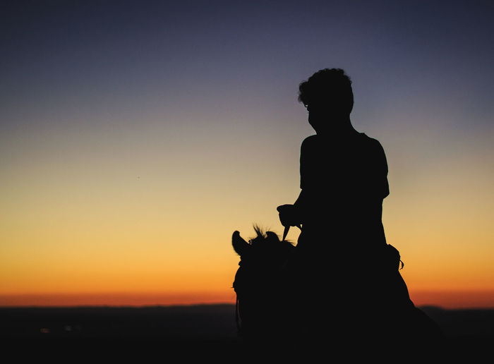 Sunset on a horse Sunset Silhouette Sky Orange Color Leisure Activity Real People Lifestyles Beauty In Nature Nature Clear Sky Tranquility Outdoors Scenics - Nature Men Horse Photography  Horse Silhouette Sunset Silhouettes Sunset Silhouette Sunset And Sillhoute Man And Horse Horse Horses Horse And Man Buenosaires Atardecer