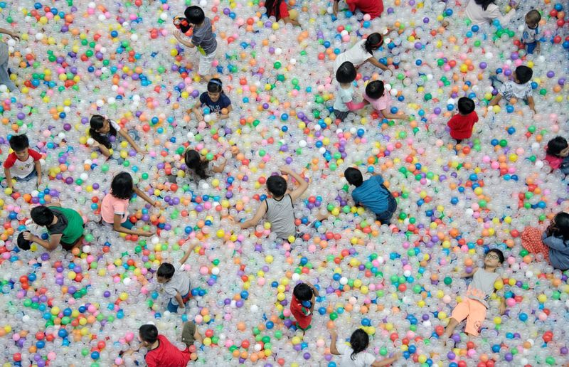Jolly Good Time Play Playing Joy Balls Children Multi Colored Backgrounds Full Frame No People Paint Abstract Splattered Pattern Celebration Indoors  High Angle View Directly Above Creativity Fun