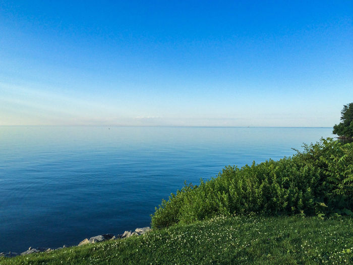 Scenic View Of Lake Ontario Against Clear Blue Sky