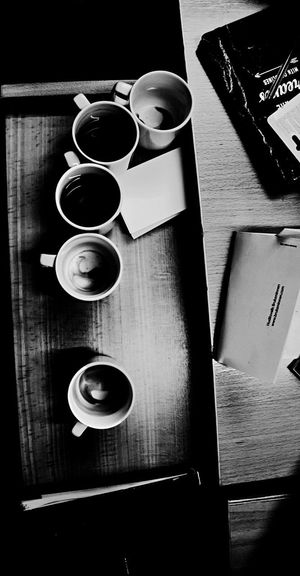 Stressful mornings. Drink Coffee Cup Coffee - Drink Refreshment Indoors  Food And Drink Cup Wood - Material Table High Angle View No People Freshness Tea - Hot Drink Close-up Day EyeEmNewHere Blackandwhite