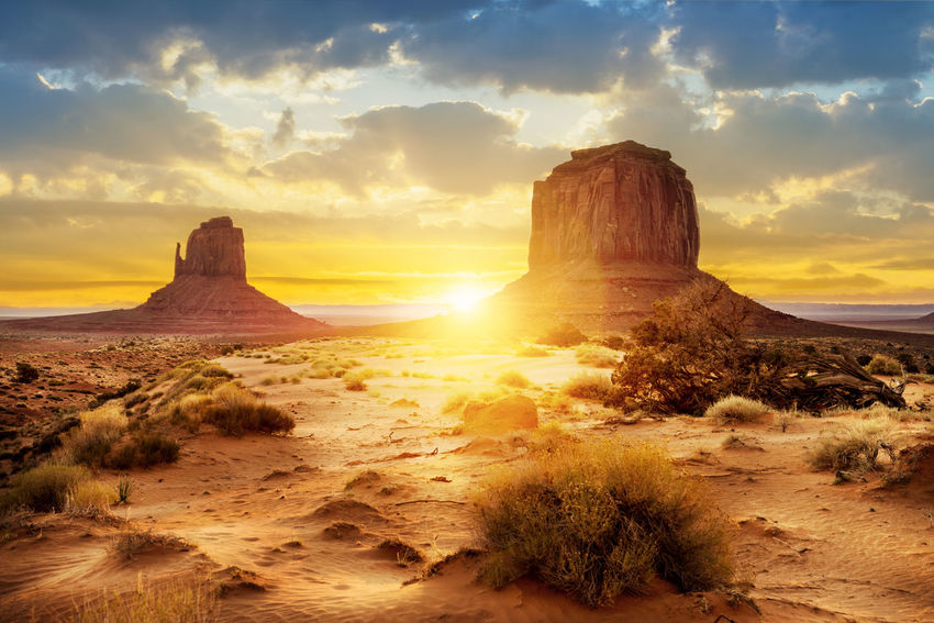 Sunset at the sisters in Monument Valley, USA America Beauty In Nature Countryside Desert Hi Indoors  Landscape Monument Valley Navajo Outdoors Park Rock, Gravel, Sand Sand Scenery Storm Stormy Sunrise Territory Touristic Tribal United States Of America USA West West America Western