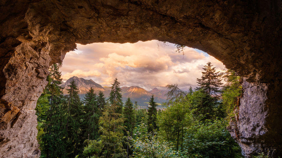 Allgäu Allgäu Alps Allgäuer Alpen Alpen Alps Arch Bavaria Beauty In Nature Clouds Deutschland Forest Germany Landscape Mountains Nature No People Oberstdorf Outdoors Rock Sky Stone Stone Arch Sunset Trees