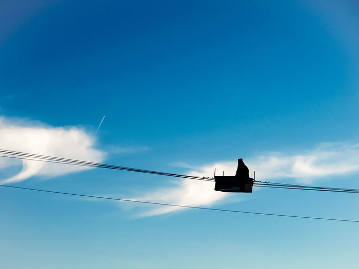 Beauty In Nature Blue Cable Cloud Cloud - Sky Day Greece High Section Kalambaka Landscape Low Angle View Meteora Meteora Monasteries Metora Nature Outdoors Priest Scenics Sky Tranquil Scene Tranquility Weather
