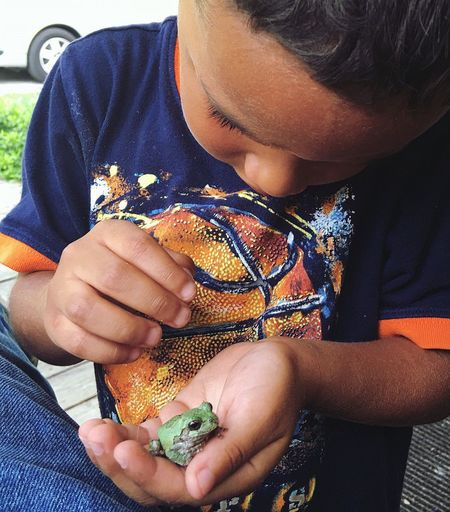 Close-Up Of Boy Holding Frog While Sitting Outdoors