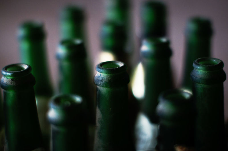 Bottle Bottles Bottles Collection Bottles Of Champagne No People Container Close-up Green Color Selective Focus Indoors  Drink Wine Bottle Food And Drink Alcohol Focus On Foreground Refreshment Abundance In A Row Still Life Side By Side Large Group Of Objects Beer Bottle Green Drinks Getränke