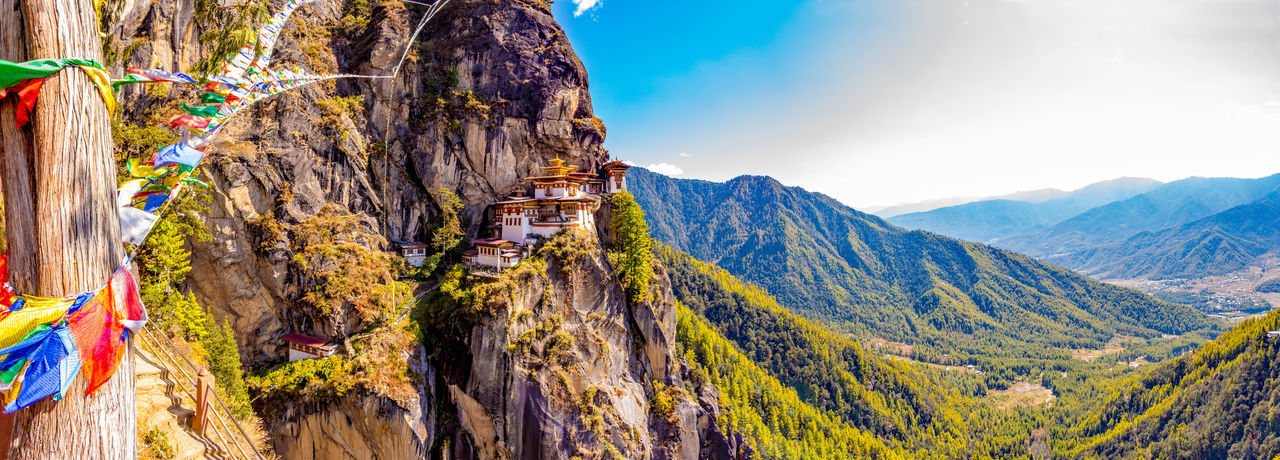 ASIA Architecture Buddhist Monastery Panorama Taktsang Tiger's Nest Bhutan Buddhism Cliff Heritage Paro Paro Taktsang Prayer Flags  Temple Tigers Nest Traditional World Wonder