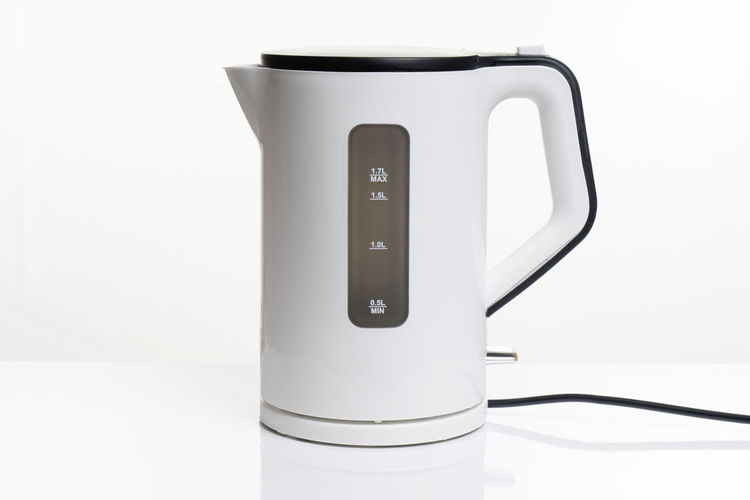 electric water kettle White Background No People Indoors  Studio Shot White Color Close-up Still Life Reflection White Single Object Appliance Kettle Electric Electric Kettle Water Kettle Water Boiler Electric Water Jug Kitchen