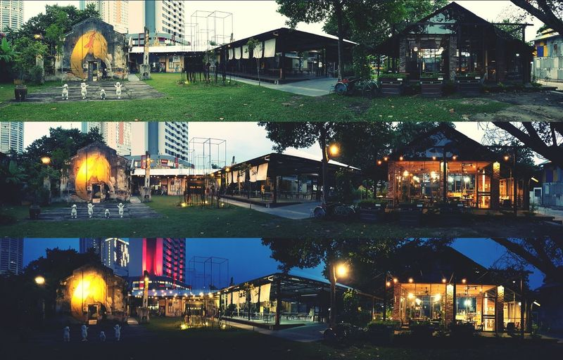 Panorama 3 in 1. Fine Art Photography Light And Dark Time Passes By Panorama Evening Light Evening Sky Night LightsNight View Nightshot Eveningshot Creativity Buildings No Humans Green Grass Natureandbuilding