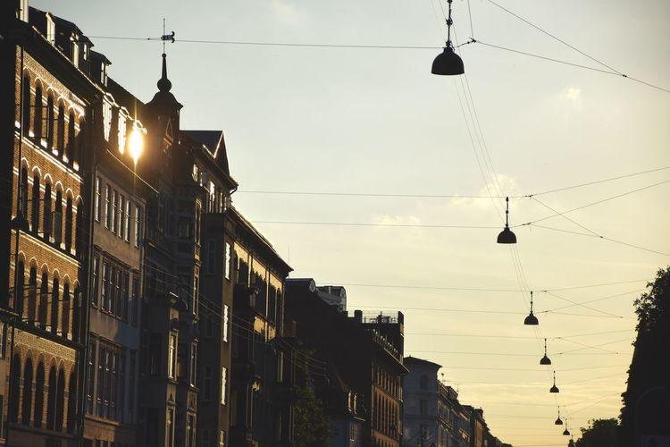 Architecture Copenhagen Illuminated Outdoors Sky Street Light Sunset Yellow