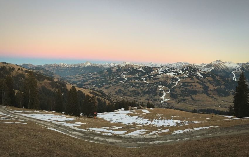 Swiss alps panorama in winter without snow Mountain Winter Nature Beauty In Nature Mountain Range Scenics Tranquility No People Outdoors Landscape Sky Grass Switzerland Gstaad No Snow  Panorama