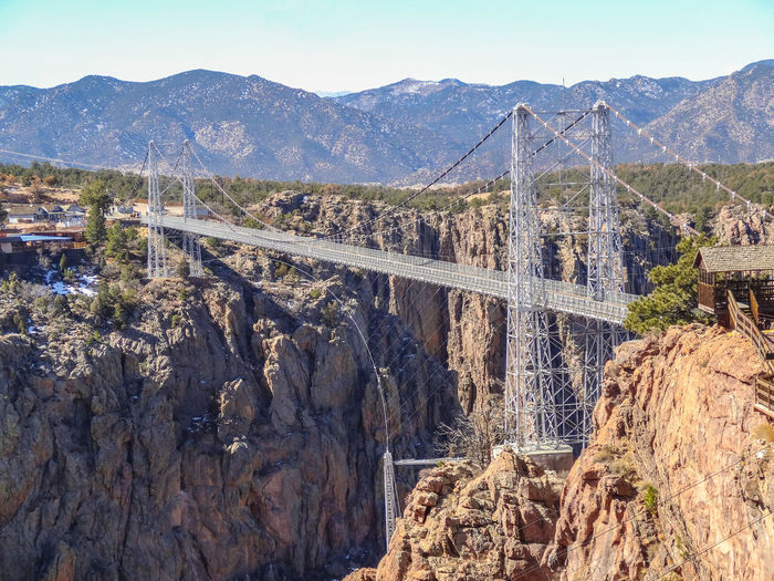 Mar 2013 - The World's highest suspension bridge, built in 1929 1,053 feet above the Arkansas River. 20th Century Arkansa River Civil Engineering Landmark Gorge Royal Gorge Bridge, Colorado Bridge - Man Made Structure Cable Suspension Bridge Canyon Steel Towers Suspension Bridge Wooden Decking