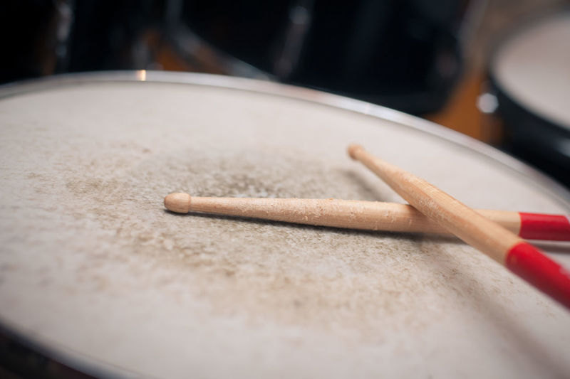 Close-up of drumsticks