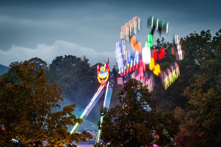 All The Neon Lights Trees Taunus Fairground Amusement Park Ride, Clouds Fun Ride Photography In Motion