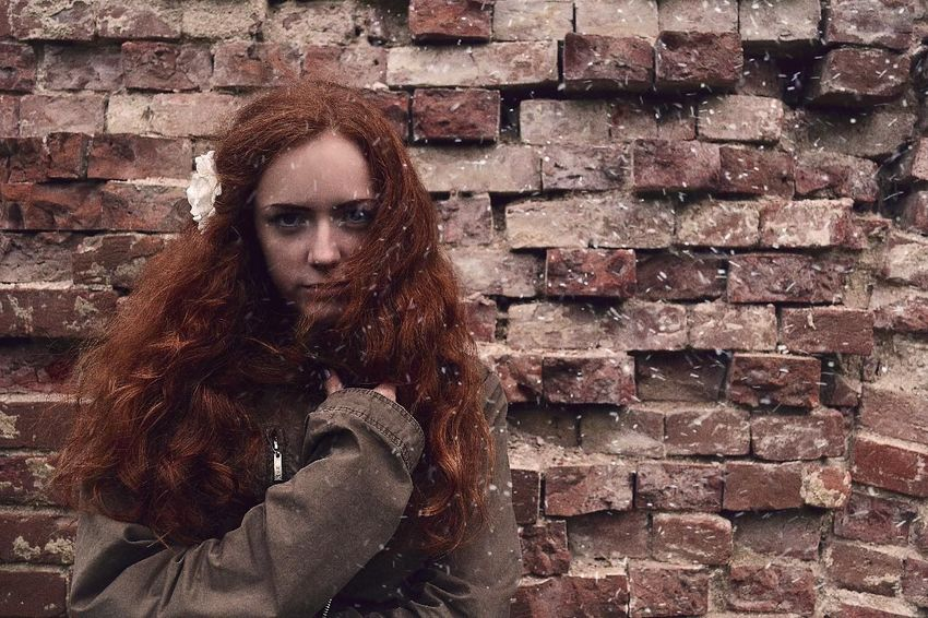 Brick Wall Day Long Hair Nature Warm Clothing Young Women