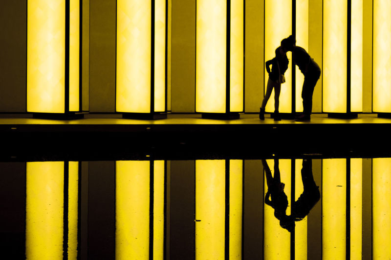 Silhouette of man working